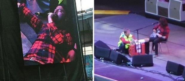 Dave Grohl en pleno concierto con su pierna rota