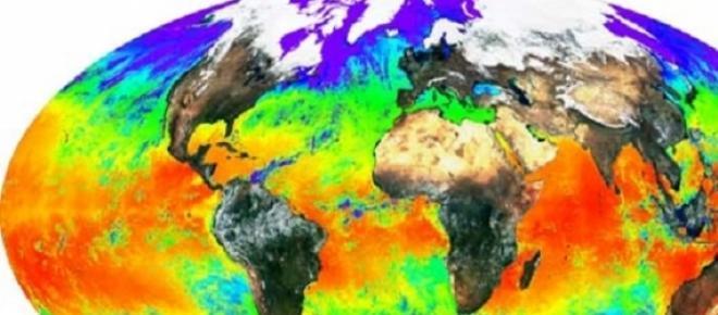 Gráfico del cambio climático en las temperaturas, según los lugares, continentes y hemisferios.