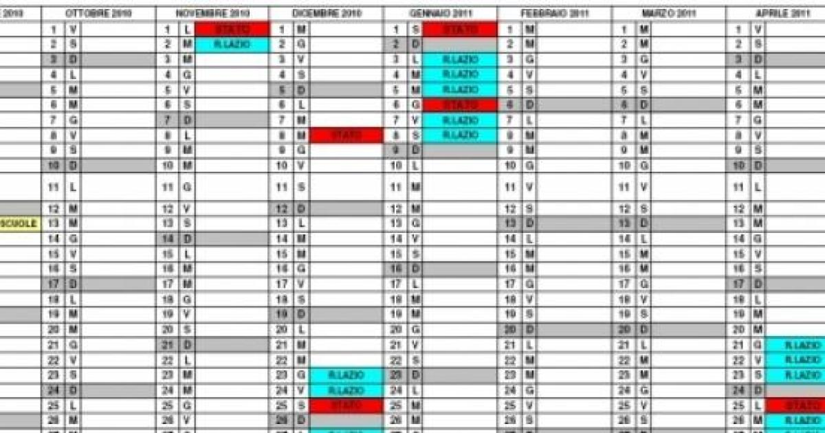 Esempio Calendario.Calendario Scolastico 2015 2016 Quando Inizia E Finisce La