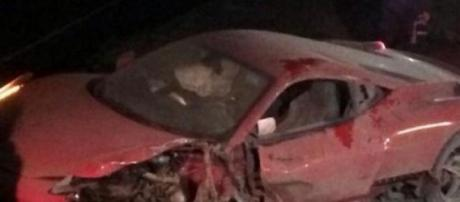 Así quedó el Ferrari después del accidente