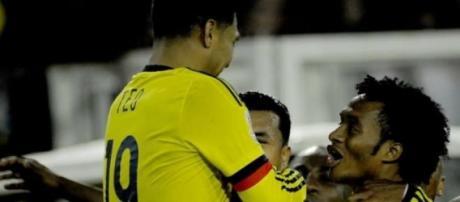 Festejo do golo da seleção da Colômbia
