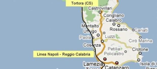 La cartina della regione Calabria