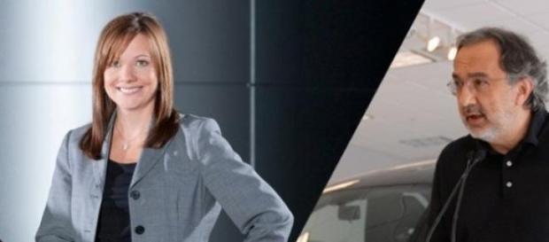 Mary Barra, da GM, e Sergio Marchionne, da FCA
