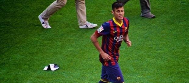 Neymar em 2013, durante a apresentação no Barça.