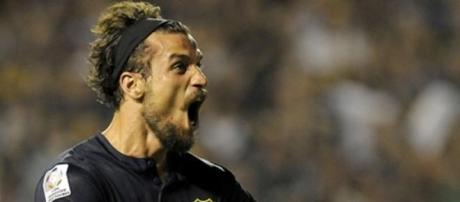 Daniel Osvaldo en su grito de gol