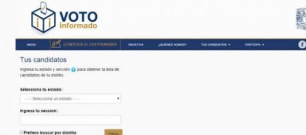 Sitio Voto Informado generado por la FCPyS-UNAM