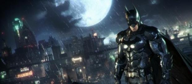 Batman con un fondo de Gotham