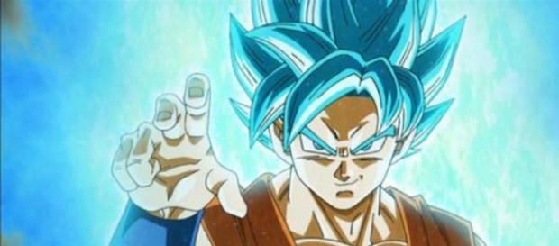 goku y su nueva transformación con el pelo azul