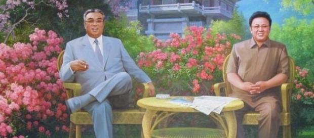 Kim Ir Sen i Kim Dzong Il we własnym raju na ziemi