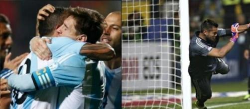 Messi, Tevez y Romero la mejor imagen del partido