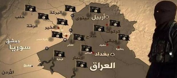 Tereny opanowane i kierunek ekspansji ISIS.