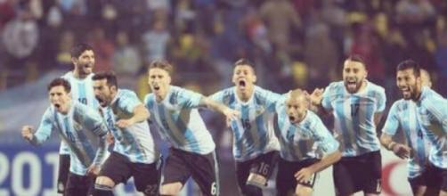 Festejo da seleção da Argentina