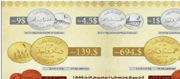 Le tre monete dell'Isis: oro, argento e rame.
