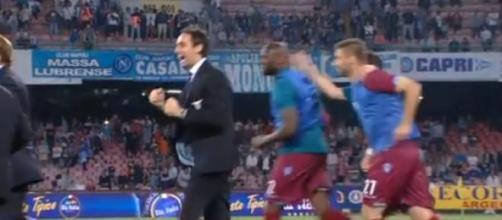 L'esultanza della Lazio al termine di Napoli-Lazio