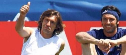 Pirlo e Buffon durante gli allenamenti dell'Italia