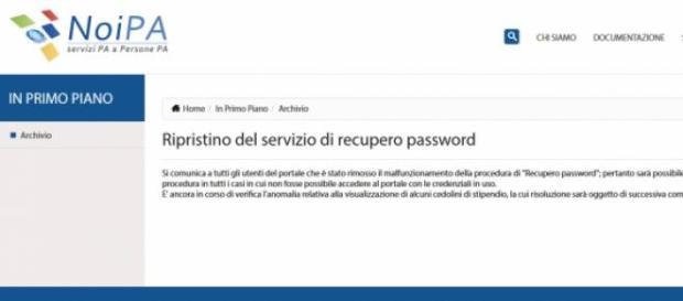 Noipa, avviso recupero password e cedolini online