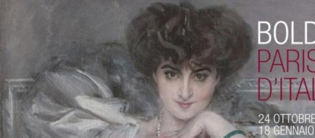 particolare di un ritratto di Boldini
