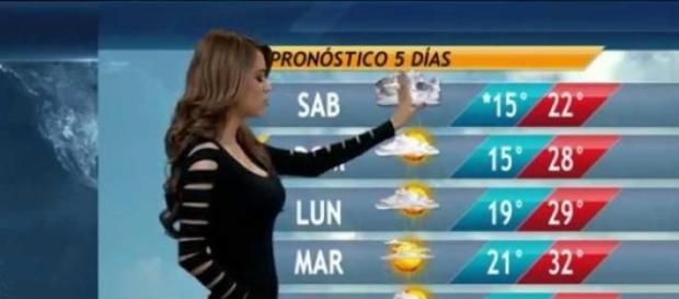 Garota do tempo do jornal Mexicano.