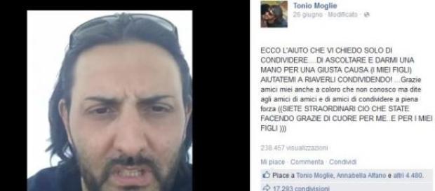 Screenshot del profilo Facebook di Tonio Moglie