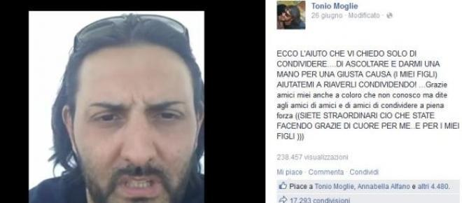 Lo screenshot della bacheca di Facebook di Tonio Moglie, dove il meccanico napoletano ha pubblicato il video-appello diventato virale per chiedere agli amici di condividerlo il più possibile e far conoscere la sua storia.<br />