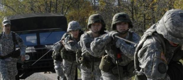 ROTC members during a training exercise
