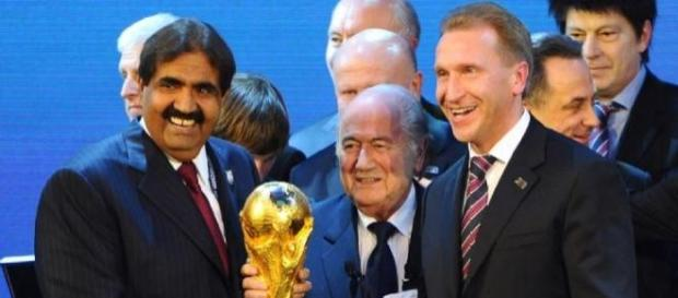 Sepp Blatter announcing WC hosts Russia & Qatar