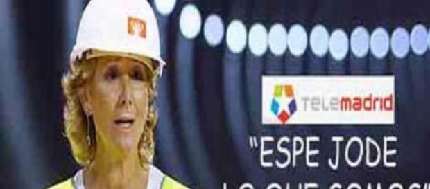 Anuncio de protesta contra Aguirre por Telemadrid.