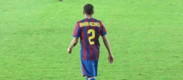 Dani Alves in Barcelona's jersey.