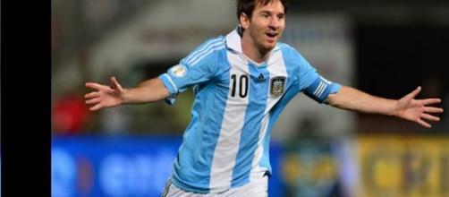 Leonel Messi una de sus celebraciones albicelestes