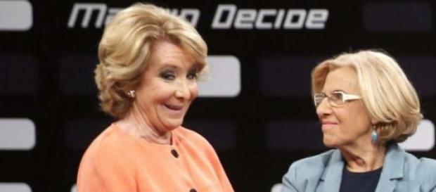 Aguirre y Carmena en un debate televisivo.