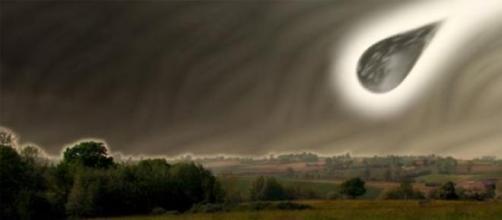 Una ricostruzione di fantasia di uno schianto UFO.
