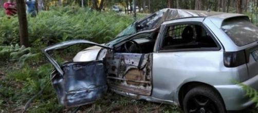 O carro onde seguia a vítima