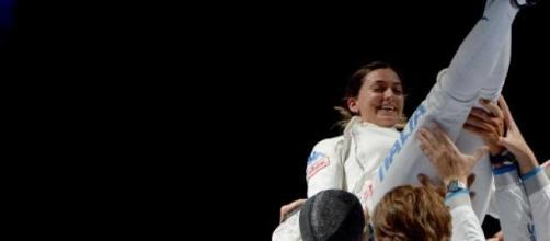 Rossella Fiamingo dopo la medaglia d'oro