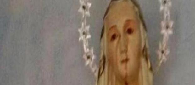 Sangue di capriolo su statua della Madonna