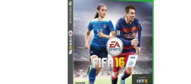 Alex Morgan con Leo Messi en la portada de FIFA 16