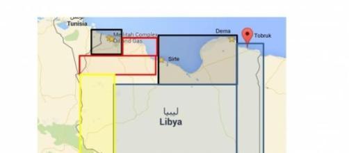 Mappa indicativa della situazione in Libia