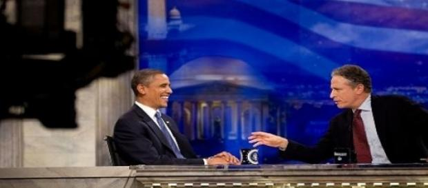 Jon Stewart entrevistou Barack Obama sete vezes.