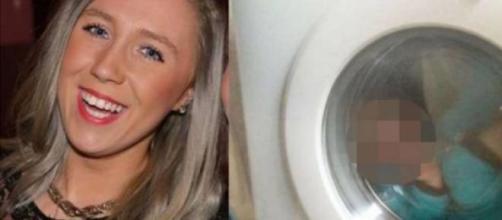 Courtney Stewart y el niño en la lavadora