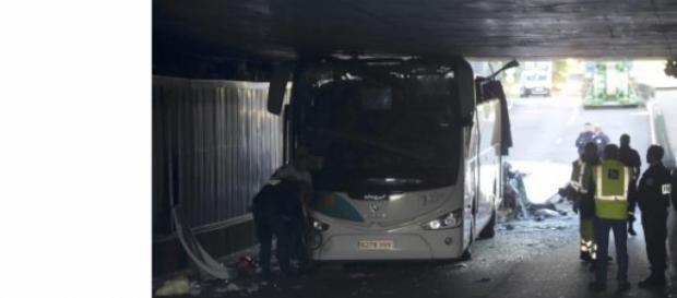 O autocarro é espanhol e transportava estudantes