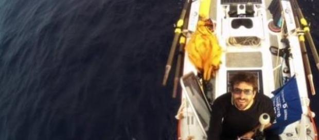 Abraham Levy en su travesía por el Atlántico