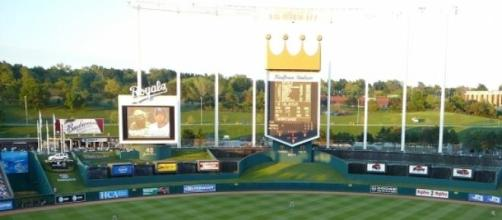 Gorgeous picture of the Kansas City Royals field.