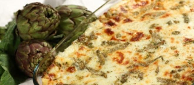 Le lasagne con carciofi, ricotta e prosciutto cotto sono davvero ottime.