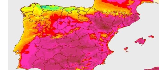Tª para el comienzo de la ola de calor en España
