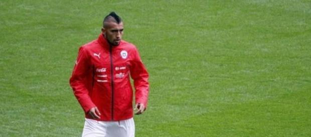 Arturo Vidal antes de un partido