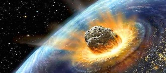Un asteroide che impatta la terra ricostruito graficamente