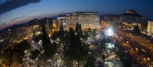 Manifestación en la plaza Syntagma.