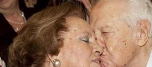 Maria Barroso ao lado de seu marido, Mário Soares