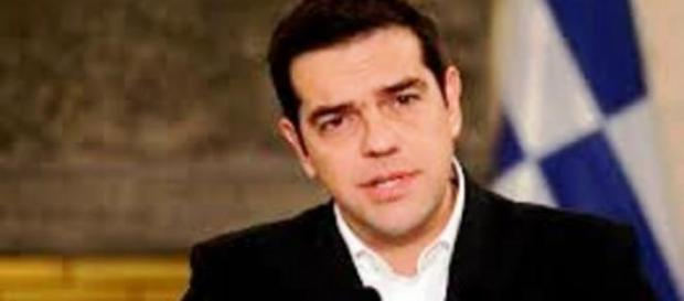 Premier Grecji Aleksis Cipras na konferencji