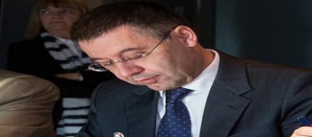 El Presidente del Barça en una reunión.