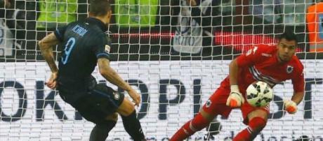 Icardi batte rigore contro Sampdoria